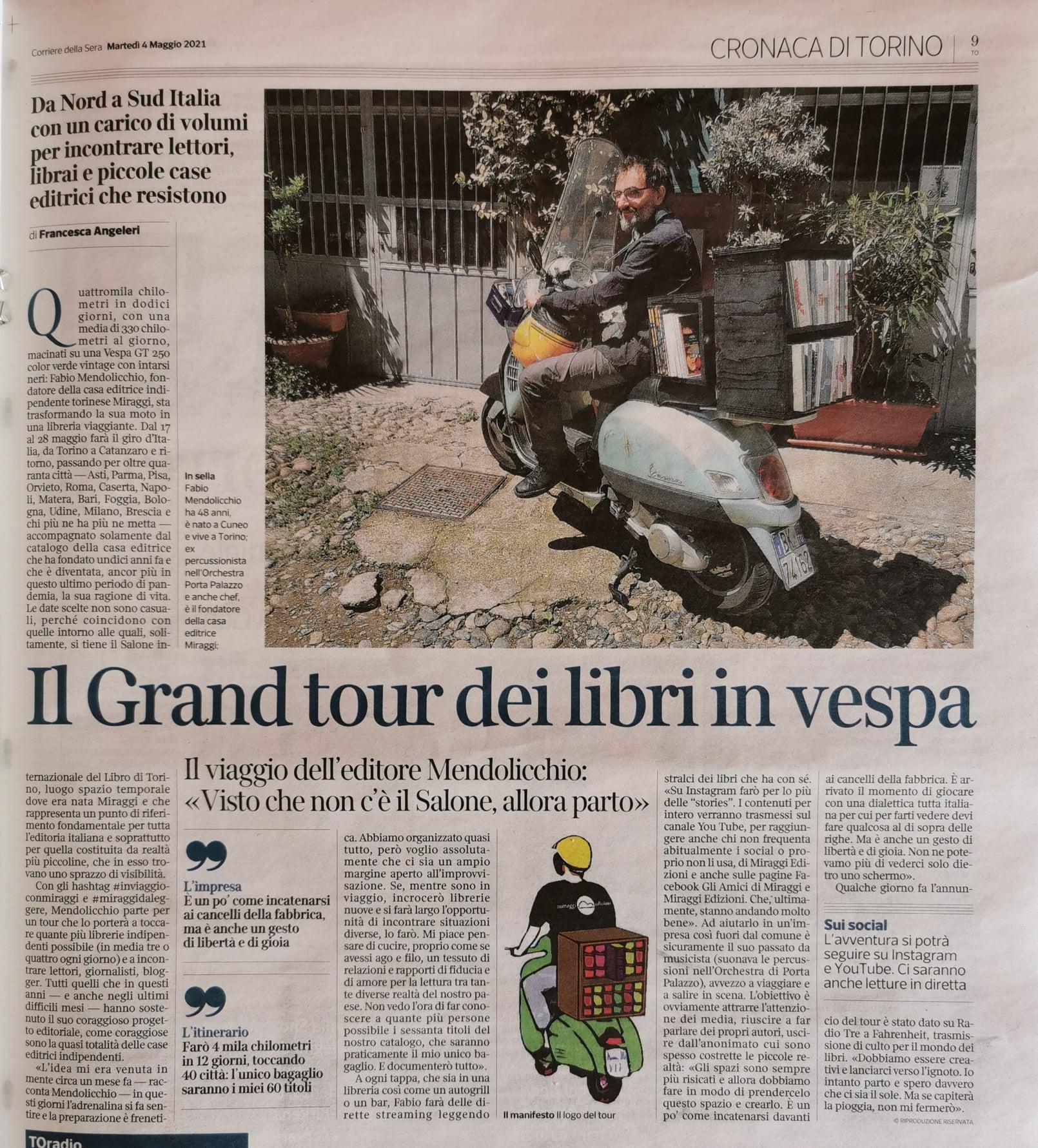 Il grand tour in vespa con Miraggi edizioni